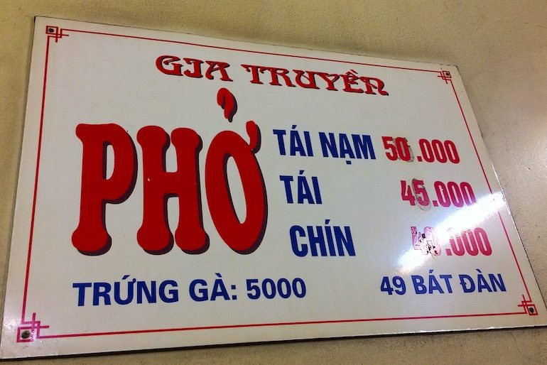 Pho Bo prices