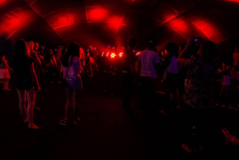 The silent disco inside a recycled balloon tent