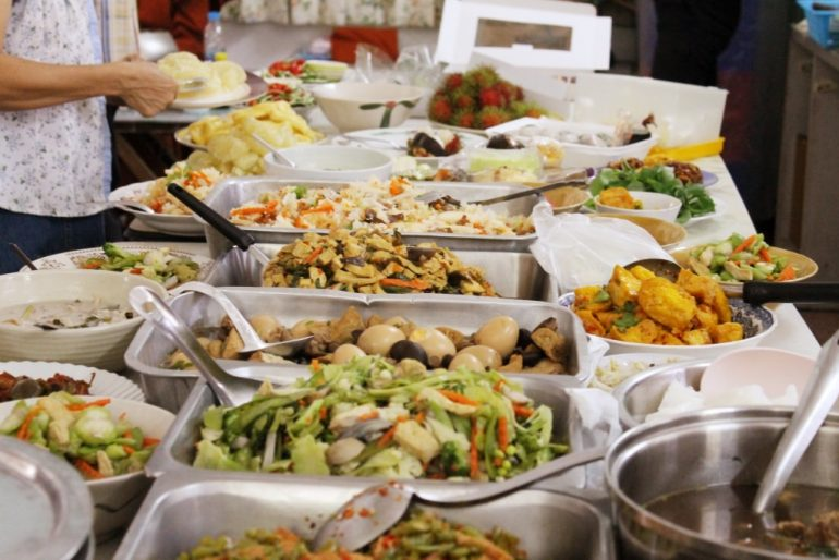 Lunch buffet at the temple