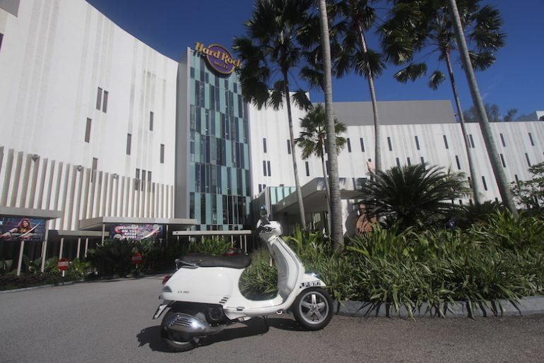 The mighty Vespa looks great at Hard Rock Hotel Penang
