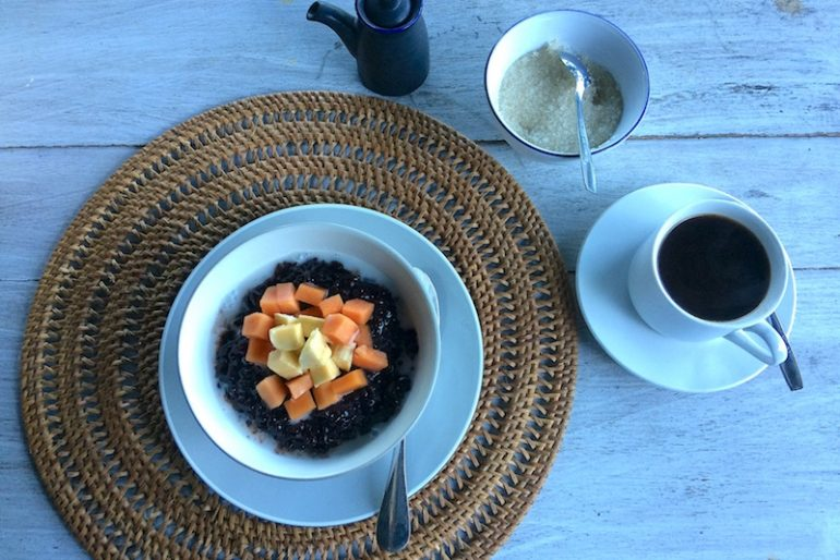 Black rice pudding breakfast