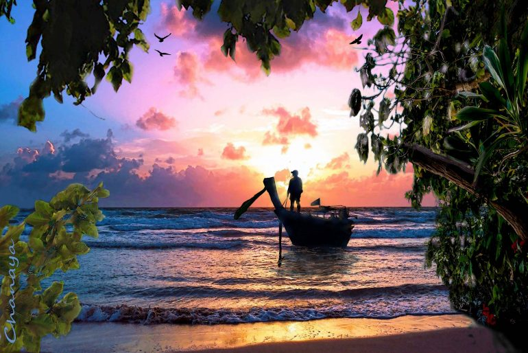 Longtail boat by Chanaya Digital Art