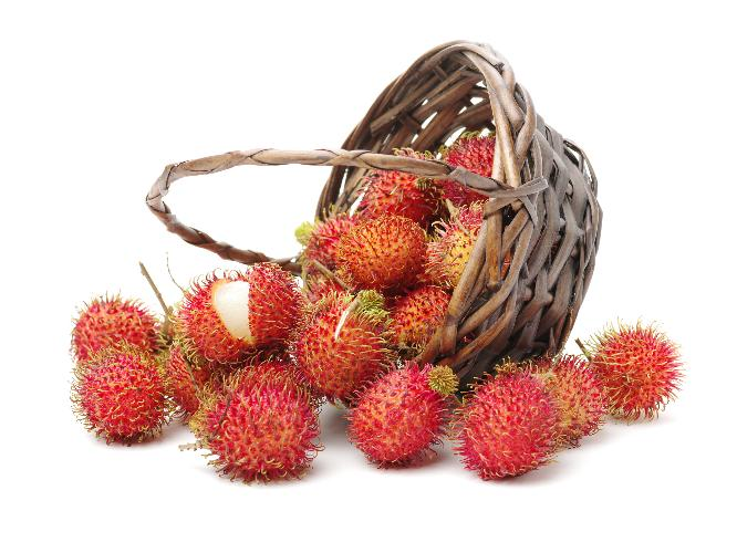 A basket of ripe rambutan
