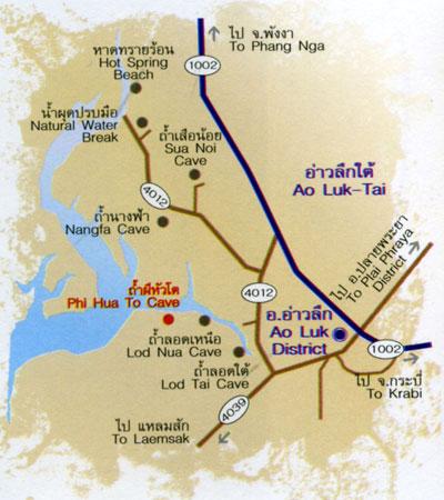 North Krabi caves map