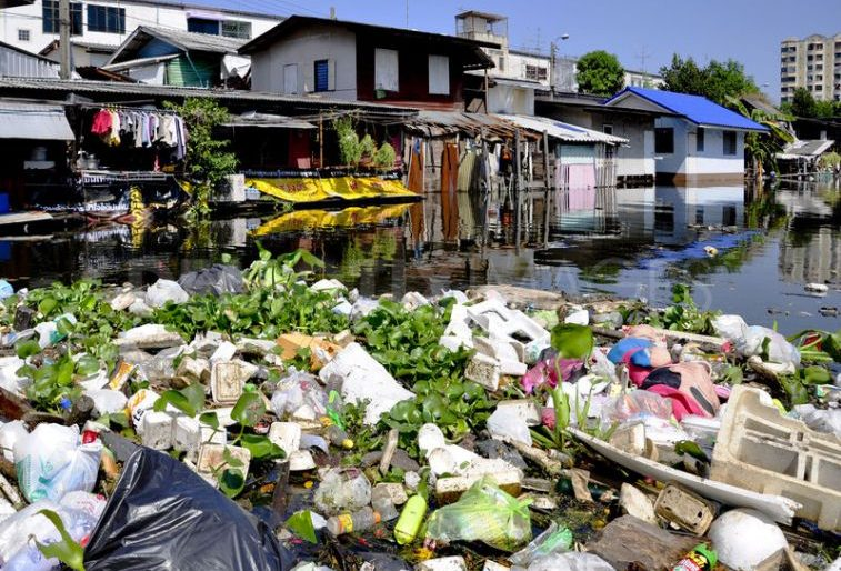 Plastic waste clogs a Thai canal