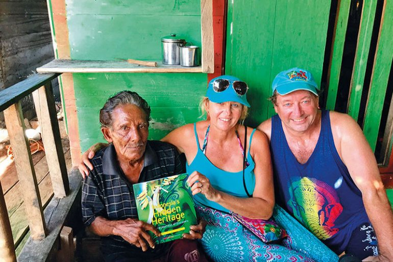 Stephanie Brookes and David Metcalf with one of Bajau people