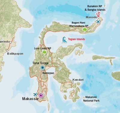 Togean Islands map