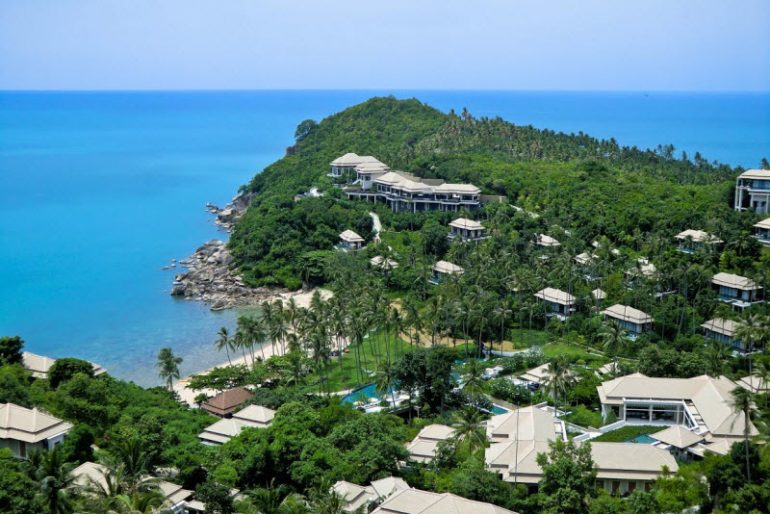 Banyan Tree Samui is nestled among rich flora and foliage on a sprawling 38-acre property overlooking the Gulf of Thailand