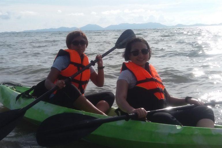Kayaking in rough waters