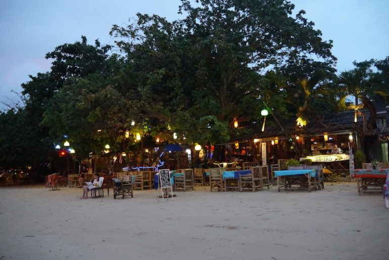 The restaurant at evening time