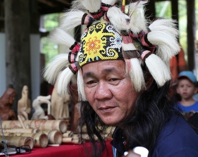 Orang Ulu with a beads headband