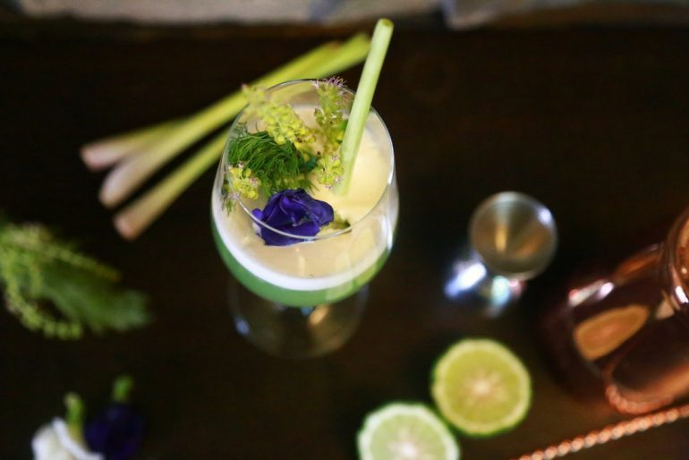 The Botanical cocktail at the Froggy Sea Breeze Beach bar