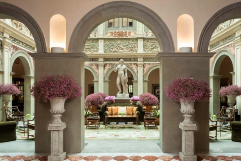 The light-filled courtyard lobby at the Four Seasons Florence