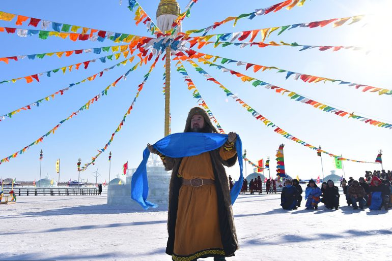 The worship ritual ceremony derives from ancient Mongolian culture