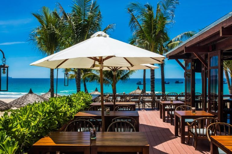 The Beach Club is perched on the 12-hectare Anam resort's finest ground right on Long Beac