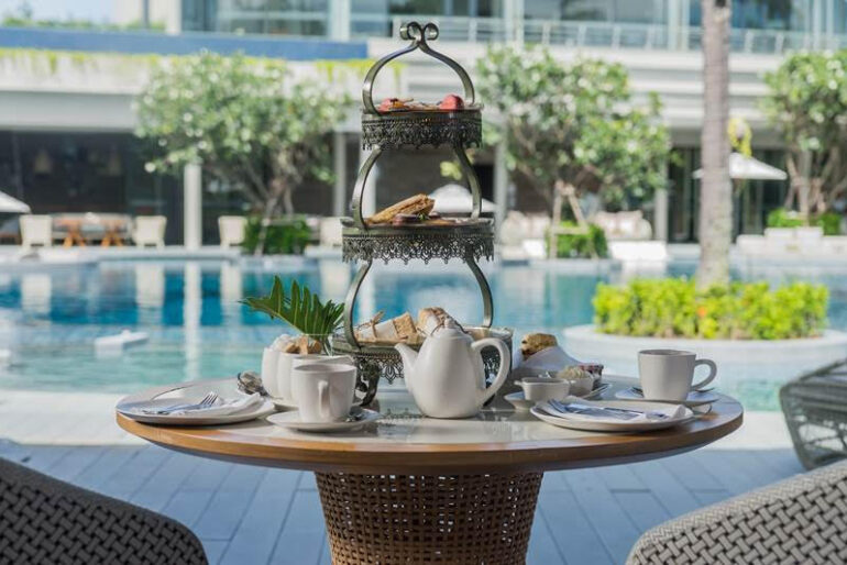 Afternoon tea entails a selection of premium TWG loose teas, the obligatory scones with clotted cream and homemade jam, and a selection of sweet and savoury treats