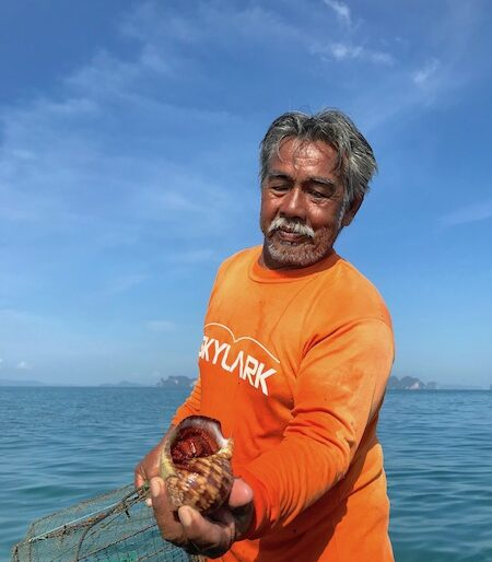 Cha's father in law. has been fishing crabs all his life