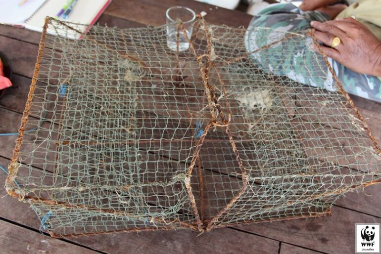 A close-up of a fold-up net